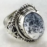 China Sterling Silver Jewelry Dendrite Agate Gemstone Ring on sale