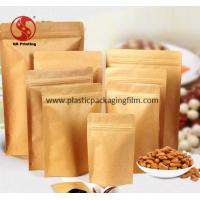Wholesale Stand Up Pouches For Food / Coffee / Tea Packaging , Brown Paper Zip Lock Bag from china suppliers