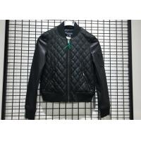 Winter Pleather Black Women Pleather Coats Ribbed Collar And Hem XS - XXL Size for sale