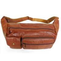 Wholesale Trendy Great Leather Unisex Brown Waist Bag Fanny Pack Purse #2025 from china suppliers