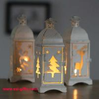 Wholesale White Metal Lantern Christmas Decoration Designs Hurricane Lamp Nordic Candle Holder from china suppliers