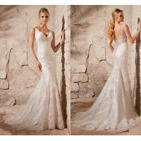 Wholesale White Mermaid Lace Deep V Neck Wedding Dresses with Open Back , Covered Button from china suppliers