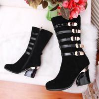 China vintage style buckle rough heel buskin boots genuine leather lady shoes wholesales on sale
