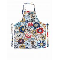 Wholesale Flower Printed Halter Strap Cotton Kitchen Apron Households Products 250gsm from china suppliers