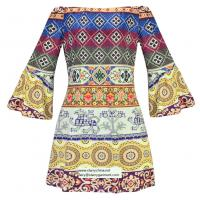 Quality strapless short printed women dress with pattern design in puff sleeve for sale