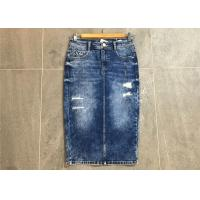 Wholesale Pencil Skirt Ladies Strench Ladies Denim Jeans Mottle Wash Rip And Repair from china suppliers