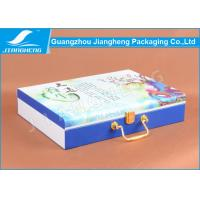 Wholesale Full Color Silk Printing Leather Gift Box Packaging With Gold Handle / Lock from china suppliers