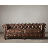 Wholesale French Antique Style Leather Living Room Sofa with Deep hand tufting and rolled arms from china suppliers