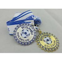 Wholesale 2D or 3D Gold Plating Iron / Brass / Zinc Alloy Rishoj Iron Stamped Ribbon Medals with Soft Enamel from china suppliers