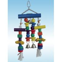 Wholesale wooden bird toy made with wooden beads, ropes,rawhide and bells from china suppliers