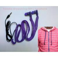 Wholesale Sportwear washable headphone waterproof hoodie garment drawstrings MP3 earphone from china suppliers