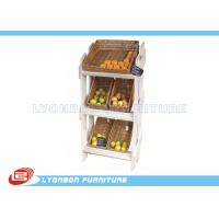 Wholesale 3 Tiers Fruit Wooden Display Stands MDF White Painted For Supermarket from china suppliers