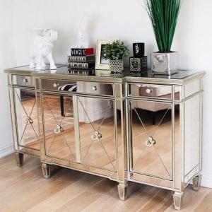 Gold / Silver Mirror Furniture Set 4 Doors Mirrored Dresser Sideboard