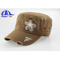 Wholesale Simple Style Wash Flat-top Military Outdoor Trucker Baseball Hat / Cap Fashion and Cool from china suppliers