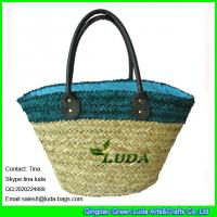 Wholesale LUDA  color block straw shoulder bag handmade seagrass straw beach bag from china suppliers