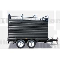 Wholesale 8x5 / 12x6 Stock Crate Flat Top Tandem Box Trailer With 4 Ways Rear Gate from china suppliers