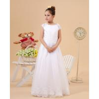 Wholesale Cute Round A Line Satin Lace White Flower Girl Gowns With Applique from china suppliers