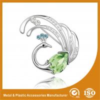 Wholesale Customized Handmade Metal Brooches Crystal Peacock Brooches Jewellery from china suppliers