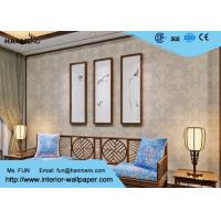 Wholesale Light Grey Victorian Damask Wallpaper Waterproof with Vinyl Material , 0.53*10M Size from china suppliers