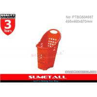 Wholesale Supermarket / Grocery Store Plastic Shopping Baskets With Three 2.5 Inch PU Wheels from china suppliers
