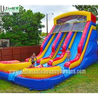 Buy cheap Kids Commercial Inflatable Water Slides Two Lane With Pools Lead Free PVC Tarpaulin from wholesalers