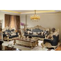 China Luxury Leather Sofa set in Champagne Rose wood Hand carving by Joyful Ever Furniture on sale