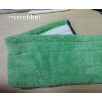 Wholesale Microfiber 13*51cm Fold Green Coral Fleece Backing White Velcro Wet Mop Pads from china suppliers