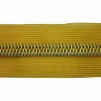 Quality Nylon Open-end Zipper with Golden Teeth and Lace Tape for sale