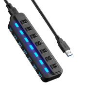 Wholesale 7 port USB 3.0 HUB and every port with both sharing switch and LED from china suppliers