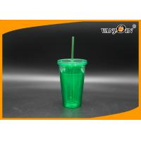 Wholesale 16oz Plastic Drink Bottles Double Layer Tumbler Cup with Straw and Lids from china suppliers