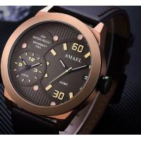 Wholesale Smael Men Genuine Leather Band Dual Time Waterproof 30m Casual Quartz Wrist Watch 1314 from china suppliers