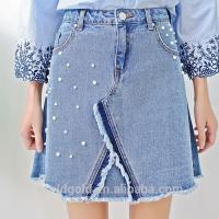 Wholesale Light  Blue Female A LINE Split Denim Skirt With Pearls & Frayed Hem from china suppliers