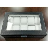 MDF Covered Leather Mens Watch Display Case , Watch Collection Box 10 Slots