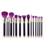 Quality 15 Pieces Popular Makeup Brushes Made Of Three Color Nylon Hair And Gold Aluminum for sale