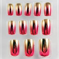 Gold / Red Noble Fake Fingernails Art Shinning Plating Artificial Nail ABS Plastic