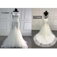 Wholesale Beautiful White Lace Mermaid Style Wedding Dress With Long Chapel Train Zipper Back from china suppliers