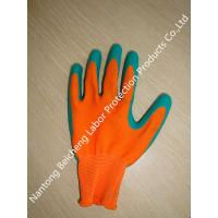 Wholesale 13Gauge Soft Latex Coated Gloves Polyester Dip Orange With Green Latex Crinkle from china suppliers