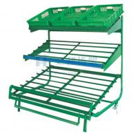 Wholesale 3 Layers Green Metallic Fruit And Vegetable Rack Display Stands With Label from china suppliers