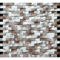 Wholesale Brown silver rectangle mosaic metal no gap different height 3D effect from china suppliers