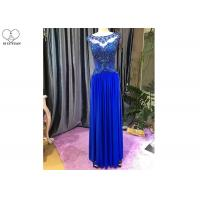 Red Blue A Line Ball Gown / Lace Perspective Chiffon Evening Dress Sleeveless for sale