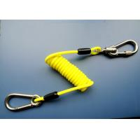 Quality High Tension 5.0 mm Yellow Coil Tool Tether Lanyards With Stainless Carabiner for sale