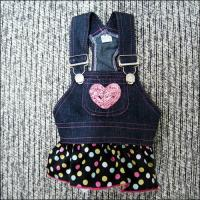 Wholesale XS, S, M, L Jean Girl Custom Dog Dresses with Bead for Pomeranian Yorkie from china suppliers