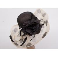 China Black 21cm Up Soft Brim Ladies Tea Party Hats / Sinamay Hat With Flowers Decoration on sale