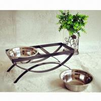 Wholesale Pet feeders, made of handcrafted in solid wrought iron with two stainless bowls from china suppliers