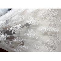 Luxury Ivory Embroidery Cord Sequin Lace Fabric / French Bridal Sequin Mesh Fabric