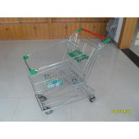 Wholesale Asian Type125L Wire Shopping Trolley With 4 Swivel Escalator Casters And Green Baby Seat from china suppliers