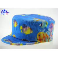 Wholesale Windproof Breathable Military Hat / Fitted Army Baseball Caps Blue with Fish Pattern from china suppliers