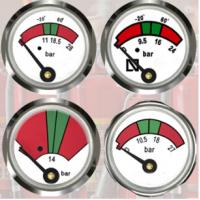 Wholesale JQ0803 Fire Extinguisher Gauge 23mm Diameter Sturdy / Durable With Bottom Mounting from china suppliers
