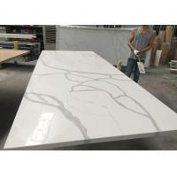 Quality Gray And White Quartz Tile Countertop Kitchen Cabinet Top Customised Size for sale