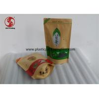 Wholesale Kraft Stand Up Pouches With Window , Brown Paper Food / Tea Packaging Custom Zipper Pouch from china suppliers